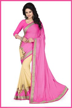 Pink and Cream Colour 60Gm Georgette Lycra Party Wear Saree Buy Sarees