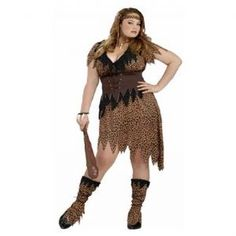 Cave Woman: Cave Beauty Cave Girl Costume (Plus Size).