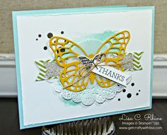 Get Crafty with Lisa:  From Basic to BAM! Eclectic Butterfly.  This thank you card features Stampin' Up!'s Perpetual Birthday Calendar Stamp Set and Butterflies Thinlits Dies, by Lisa Rhine, www.getcraftywithlisa.com