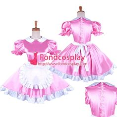 Free Shipping Pink Satin Sissy Maid Dress With Pearl Buttons Uniform Tailor-made