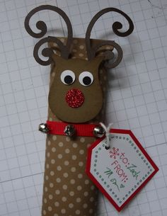 Beth's Paper Cuts: Rudolph - candy bar wrapped and decorated