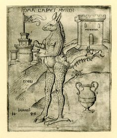 Roma Caput Mundi; a monster with a donkey's head, a woman's torso, an elephant's arm, a cloven hoof and an eagle's claw, and a tail with a dragon's head. 1496-1500  Engraving