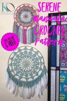 Serene Mandala Wall Hanging AND Dreamcatcher Free Crochet Pattern — KRISTIN OMDAHL Crochet Dreamcatcher Pattern Free, Crochet Mandala Pattern, Doily Patterns, Crochet Doilies, Crochet Flowers, Knitting Patterns, Crochet Patterns, Crochet Wall Art, Crochet Wall Hangings