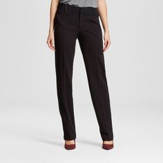 Women's Bi-Stretch Twill Straight Leg Classic Pant Ebony 6 Short - Merona, Black