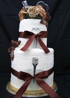 Wedding Towel Cake | Chocolate Ivory Wedding Towel Cake