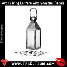 Avon Living Lantern with Seasonal Decals. Avon. Different seasonal decals allow you to customize your lantern all year round. Regularly $29.99.  Shop online with FREE shipping with any $40 online Avon purchase.  #Avon #Home #CJTeam #HolidayDecor #Lantern #FallAvonLiving #HomeDecor #FallintoStyle #AvonLiving #Avon4Me #C19 Avon Living Online @ www.TheCJTeam.com