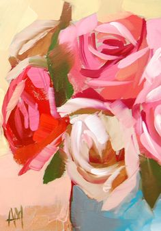 Roses in Blue Vase no. 3 original still life floral oil painting by moulton 5 x 7 inches on panel  prattcreekart