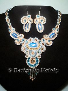 FREE Shipping Soutache Jewelry Necklace Earrings Set Queen of Heaven Blue Beige