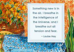 """♡♡彡*""""Something new is in the air. I breathe in the intelligence of the Universe, and I breathe out all tension and fear.""""* ~#LouiseHay~♡Connie #selfesteem #parenting #kidsaffirmations #higherground  Affirmation books for kids! ☆☆ Fun! ☆☆  """"I Create My World"""" > http://amzn.to/18VTWts ♡ """"I Believe In Me"""" > http://amzn.to/HQIDFW ♡"""