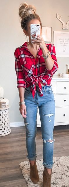 #fall #outfits red and black plaid sports shirt.