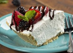 This silky smooth, chilled dessert pie is so easy to make, anybody can whip it up. Our no-bake Sour Cream Pie has a mild flavor and a creamy texture, so it pairs perfectly with fresh berries and a little chocolate drizzle.