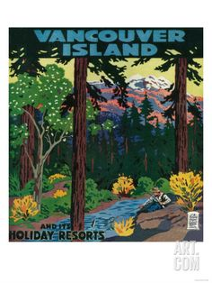 Vancouver Island Advertising Poster - Vancouver Island, Canada  Retro Poster
