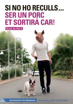 #Publicidad del ayuntamiento de #Badalona para la recogida de  #excrementos de #perro y #mascotas.