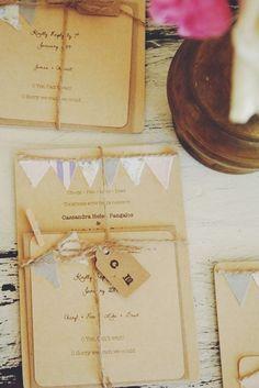 Kraft bunting wedding invitation