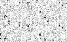Wall&Paper - Yeka Haski, wallpaper, line art, doodle art, black, white, illustration, art,