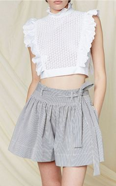 white embroidered cropped blouse by Philosophy di Lorenzo Serafini for Resort Available at Moda Operandi! - womens satin shirts blouses, pretty blouses for women, bow blouses womens shirts *ad Modest Fashion, Fashion Dresses, Essentiels Mode, Chic Outfits, Blouse Designs, Womens Fashion, Fashion Trends, Trending Fashion, Fashion 2020
