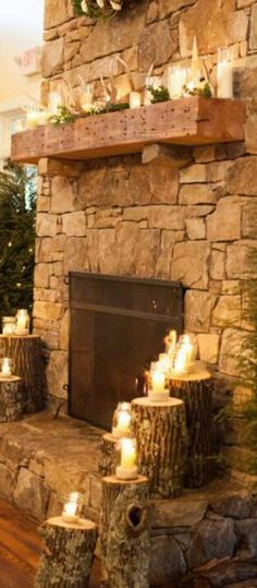 Rustic Fireplace with great mantle