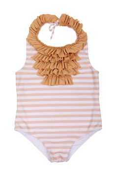 pink striped and ruffle bib bathing suit for my girl.