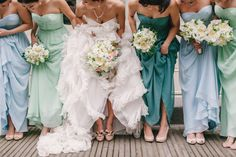 same dress different shades for bridesmaids