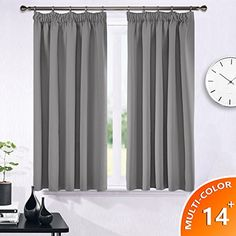 Ponydance Solid Thermal Insulated Pencil Pleat Interwoven Lining Blackout Curtains for Livingroom 46 x 54 (2 panels Grey)