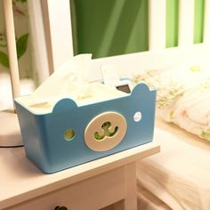 [USD3.52] [EUR3.15] [GBP2.54] Creative Bear Cartoon Multifunction Storage Box (Colour: Blue, Size: 15.5 * 12.5 * 11cm)
