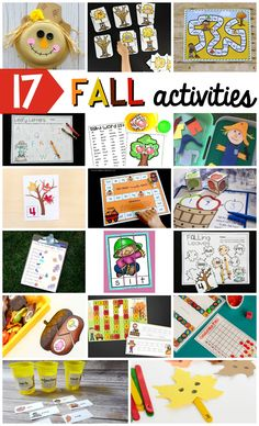 17 FUN Fall activities for kindergarten, first grade and second grade kids! Make a scarecrow craft, practice reading, writing and math with acorns and leave themed activities!