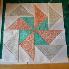 Flying Geese Pinwheel Block Pattern | FaveQuilts.com - don't know if I've pinned this already so I'll do it (and delete it later if so). Not wild about the colors but like the pattern a lot.