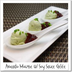 Avocado Mousse with Soy Sauce Gelée, the perfect bite