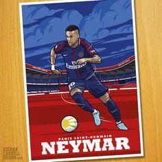 illustration of the PSG forward Neymar.  Paris Saint Germain  Prints available now :-)