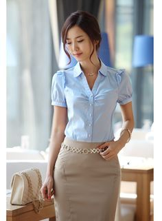 £: Fashion Varabow Design Formal Wear 2014 New Office Lady Chiffon Blouse Size Good Quality Charm Women Dress Shirt Office Ladies, Work Attire, Corsage, Blouse Styles, Mode Style, Formal Wear, Just In Case, Spring Outfits, Blouses For Women