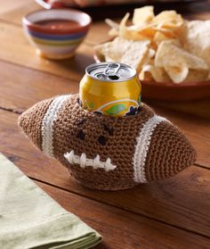 Crochet Football Pattern Football Can Cozy Red Heart Crochet Football Pattern Crochet Football Earflap Hat Pattern Craftsmake For And With. Crochet Football Pattern Katie Cooks And Crafts Football Coaste. Crochet Game, Crochet Cup Cozy, Crochet Gifts, Knit Crochet, Crochet Pillow, Crochet Things, Redheart Free Crochet Patterns, Knitting Patterns, Free Pattern