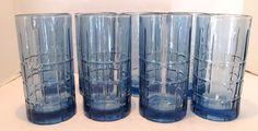 Eight (8) DENIM BLUE Anchor Hocking TARTAN 16 Oz Ice Tea Glasses Tumblers  #AnchorHocking