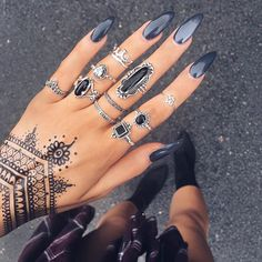 Henna Style Temporary Tattoos available on the site! // Polish by @zoyanailpolish in Genevieve ➰