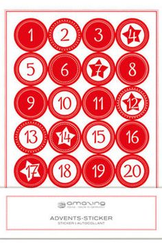 Adventskalender Zahlen rot/weiß Amazing