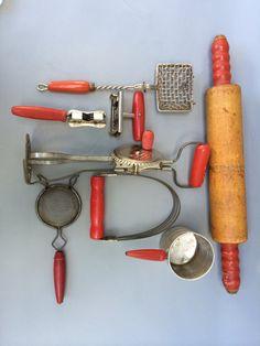8 Retro Vintage Red Handled Kitchen Utensils by StellaDonnaVintage