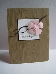 awesome handmade card ... kraft base with Paper Trey Ink Woodgrain Impression Plate .... branch and sakura flower die cut with Memory Box dies ... adore this card!!!