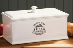 white ceramic bread box my miscellaneous board pinterest shop home shops and ceramics. Black Bedroom Furniture Sets. Home Design Ideas