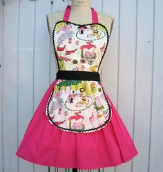 Retro APRON     with CIRCUS Print womens by loverdoversclothing, $29.99