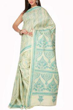 Beige & Turquoise Kantha Tussar Silk Saree