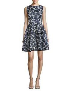 OSCAR DE LA RENTA Floral Gazar Faille Coupe Dress. #oscardelarenta #cloth #dress
