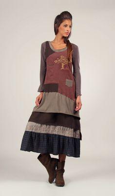 Robe NINA marron/kaki - IAN MOSH - Ref: 429717 | Fruit Rouge