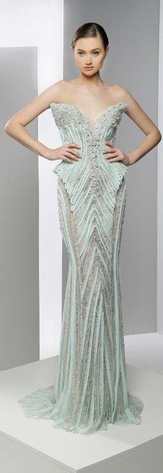 Ziad Nakad / Gorgeous Gown made of chiffon, silk, satin and handmade flowers and Swarovski crystalWinter 2014