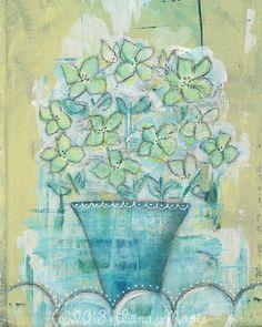 Monday Morning Bouquet  Mixed Media Art PRINT  by LanaManisDesigns, $15.00