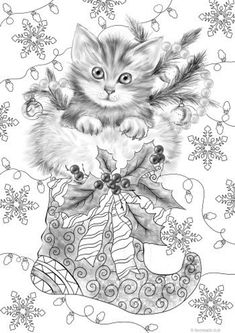 Best Present - Printable Adult Coloring Page from Favoreads (Coloring book pages for adults and kids, Coloring sheets, Colouring designs) Cat Coloring Page, Printable Adult Coloring Pages, Alphabet Coloring Pages, Flower Coloring Pages, Free Coloring Pages, Coloring Sheets, Coloring Books, Winter Art Projects, Art Projects For Adults