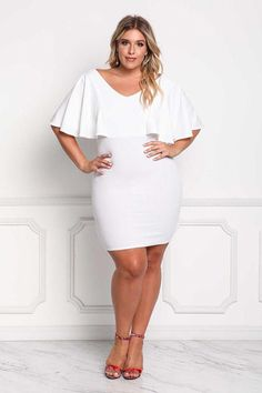 Hualong Sexy V Neck Fitted Plus Size White Dress  #skirts #dresses #prom #party #eveningdresses #promdresses #partyideas #maidofhonorspeech#skirtoutfits #whitedress #plussize #plussizefashion #plussizeclothing