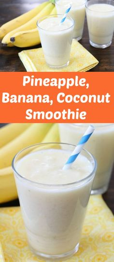 Pineapple Banana Coconut Smoothie for Summer Beat the heat with this refreshing smoothie that is perfect for cooling off Make it today smoothie drinks drinkrecipe summerrecipes banana coconut pineapple Coconut Milk Smoothie, Banana Coconut, Pineapple Coconut, Pineapple Syrup, Coconut Drinks, Coconut Yogurt, Fruit Smoothie Recipes, Juice Smoothie, Smoothie Drinks