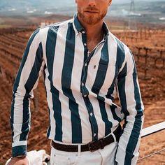 Fashion Men'S Casual Striped Long-Sleeved Shirt Striped Long Sleeve Shirt, Long Sleeve Mini Dress, Long Sleeve Shirts, Striped Blazer, Check Shirt, Skirt Fashion, Types Of Sleeves, Fashion Shirts, Mens Fashion
