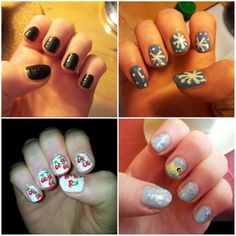 #tbt to when I recreated four designs by the amazingly talented @cutepolish.  I was just starting out with nail art back then and I was obsessing over @cutepolish's designs. Please ignore my supershort nails and my cuticles.   #nailart #nails #cutepolish