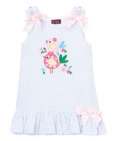 Lil Cactus Blue Bird Seersucker Ruffle Dress - Infant, Toddler & Girls   zulily