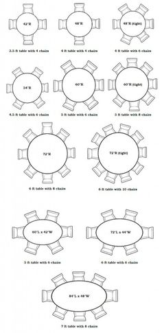 wedding table size chart. round table charts: interior designer of asheville north carolina kathryn greeley uses charts to help with appropriate seating sizes and capacities wedding size chart e